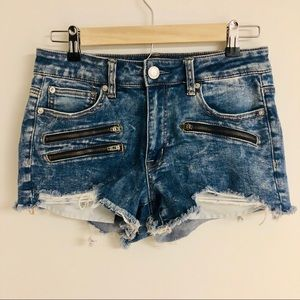 American Eagle Hi-Rise Shortie Distressed Zippers